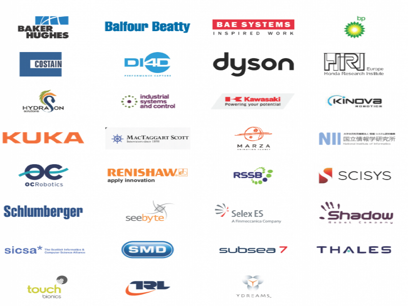 Baker Hughes, Balfour Beatty, Bae Systems, Costain, DI4D, Dyson, Honda Research Institute, Hydrason, Industrial Systems and Control, Kawasaki, Kuka, MacTaggart Scott, Marza, OC Robotics, Renishaw, RSSB, Schlumberger, Seebyte, Selex, Sicsa, SMD, Subsea, Touch Bionics, TRL, YDreams
